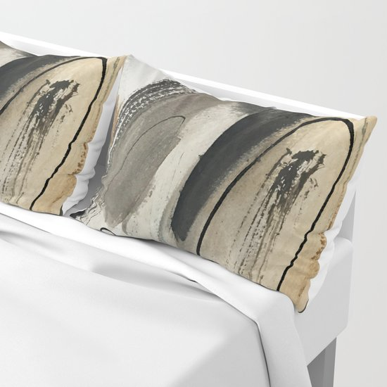 Drift [5]: a neutral abstract mixed media piece in black, white, gray, brown by blushingbrushstudio