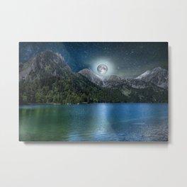 Fantasy Lake Moon Light Metal Print