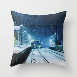 Shimotakaido Station Snow Throw Pillow