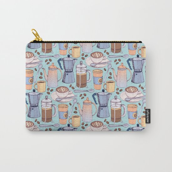 Coffee Love on Blue Carry-All Pouch
