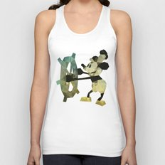 Mickey Mouse as Steamboat Willie Unisex Tank Top