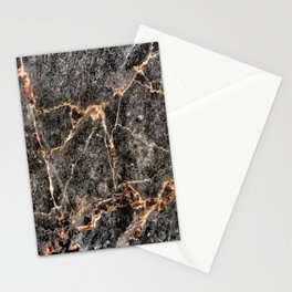 Luxurious Rose Gold Veins and Charcoal-Black Marble Stationery Cards