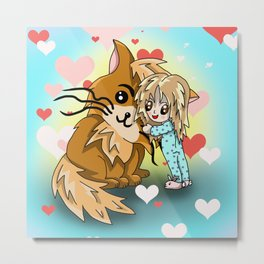 Cute cartoon girl hugging her huge ginger cat Metal Print