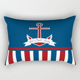Red White and Blue Let's Sail Away Rectangular Pillow