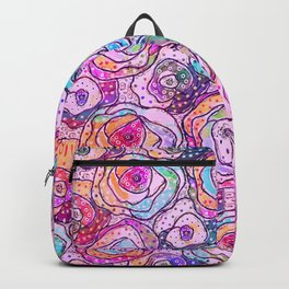 Watercolour & Rainbow Ink Flowers , Colorful Floral Painting Backpack