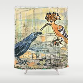 The Crow and the Hoopoe Shower Curtain