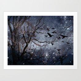 Woodland Crows And Bursting Stars Art Print