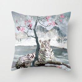 White Tiger And Plum Tree Throw Pillow