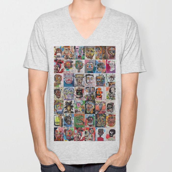 Basquiat Faces Montage Unisex V-Neck