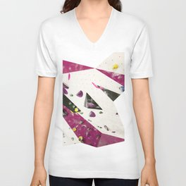 Maroon climbing wall boulders bouldering gym abstract geometric print Unisex V-Neck