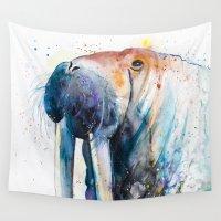 walrus Wall Tapestries featuring Walrus by Slaveika Aladjova