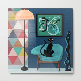 Creature Comforts Mid-Century Interior With Black Cat Metal Print