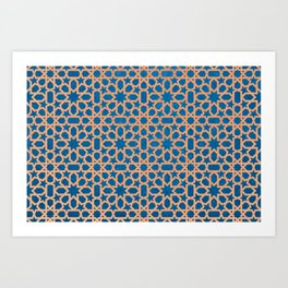 Blue, orange Design - Geometric oriental pattern Art Print