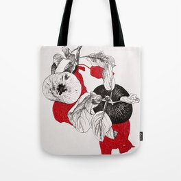 Apples with red shadows Tote Bag