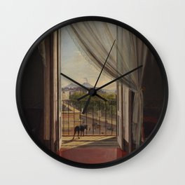 A View of Naples through a Window by Franz Ludwig Catel Wall Clock