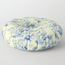 Chinoiserie Flowers Blue on Lemon Honey Creme Floor Pillow