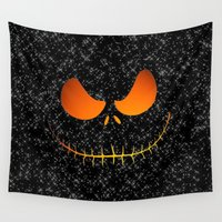 jack skellington Wall Tapestries featuring Jack Skellington Nightmare by neutrone