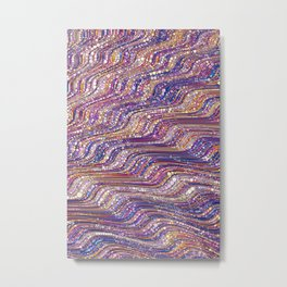 tia - abstract wave design in cool tones champagne pink blue mauve purple Metal Print