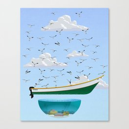 Boat and Birds Canvas Print