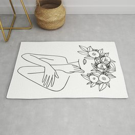 Woman With Floral Wreath  Minimal Line Art  #society6 #buyart Rug