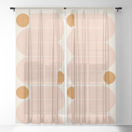 Abstraction_SUN_LINE_ART_Minimalism_002 Sheer Curtain