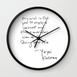 A wonderful note from Kusama (typography) Wall Clock