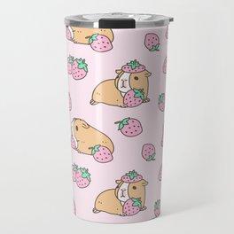 Pink Strawberries and Guinea pig pattern Travel Mug
