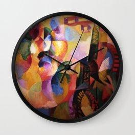 Sun, Eiffel Tower, & Airplanes - Soleil, Tour, Aéroplane geometric landscape by Robert Delaunay Wall Clock