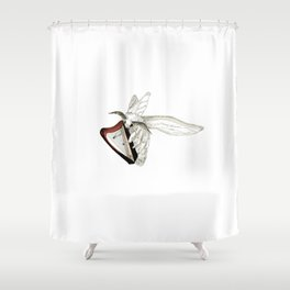 Moth Tries Harp Shower Curtain