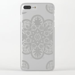 Floral Doily Pattern | Lace Crochet Doilies | Needle Crafts | Grey and White | Clear iPhone Case