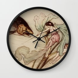Vintage illustration with a fish and a water nymph Wall Clock