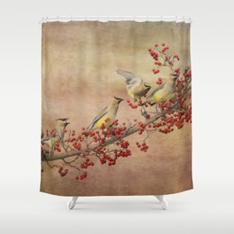 Cedar Waxwings Gathering Shower Curtain