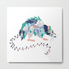 Flowered Rat Metal Print