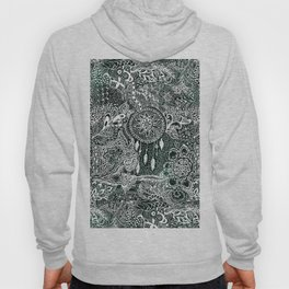 Modern dark green forest watercolor Christmas dream catcher floral doodles Hoody