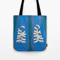 sneakers Tote Bags featuring Sneakers by Sam Ayres