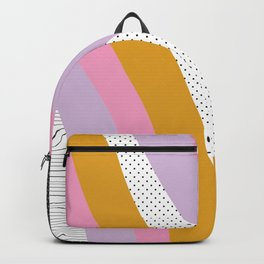 Abstract Print - Mixed Colors and Patterns Wavy Lines Backpack