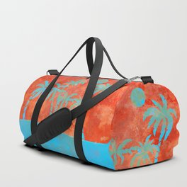 Tropical sunset with blue palm trees Duffle Bag