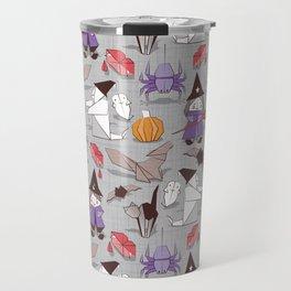 Halloween origami tricks // grey linen texture background Travel Mug