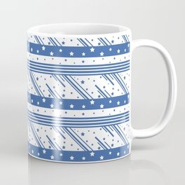 Abstract blue and white pattern with stripes and stars. Coffee Mug