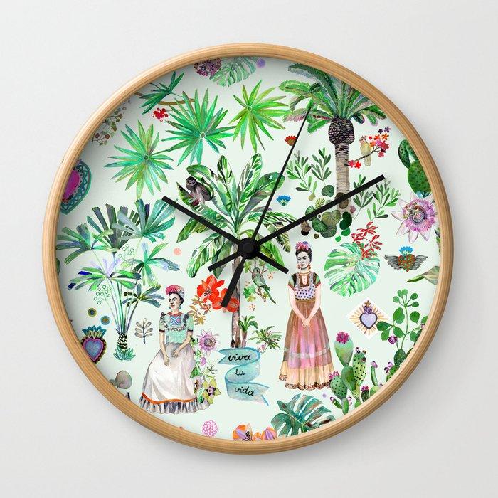 Frida's Garden Wall Clock