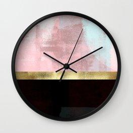 Elegant Pink Minimalism Gold Line Wall Clock