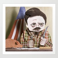 swanson Art Prints featuring Ron Swanson by Erin Maala
