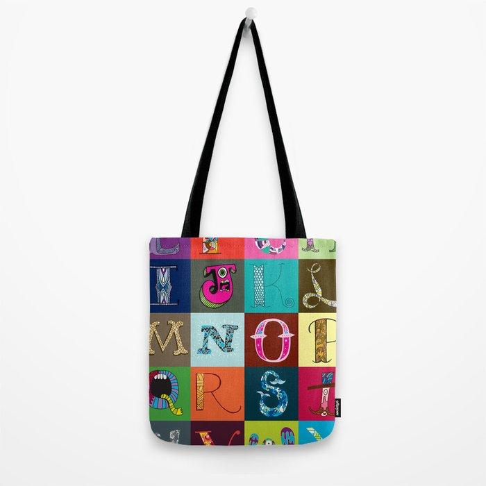 Hand Drawn Alphabet Tote Bag