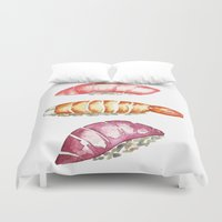 sushi Duvet Covers featuring Sushi  by Kristine Sarley Art