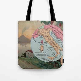 Vintage Map of Italy with Illustrations (1890) Tote Bag