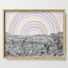 Happy Rainbow Rays // Scenic Desert Cactus Hill Landscape Watercolor Collage Dorm Room Decor Serving Tray