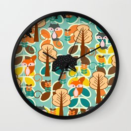 Magical forest with foxes and bears Wall Clock