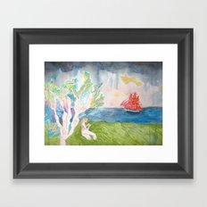 Contemplating Wooden Ships Framed Art Print