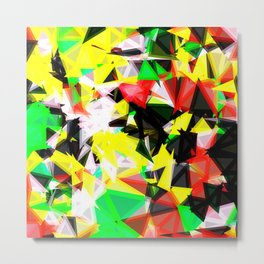 psychedelic geometric abstract pattern in green red yellow black Metal Print