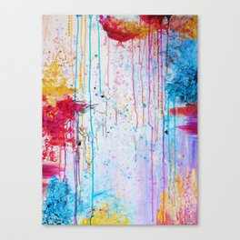 HAPPY TEARS Bright Cheerful Abstract Acrylic Painting, Drip Splat Bold Pink Red Purple Spring Art Canvas Print